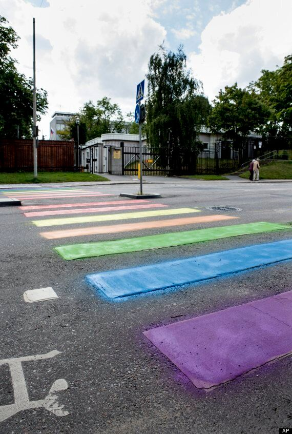 Sochi Winter Games 2014: Rainbow Zebra Crossing Protest Outside Russian Embassy In Stockholm