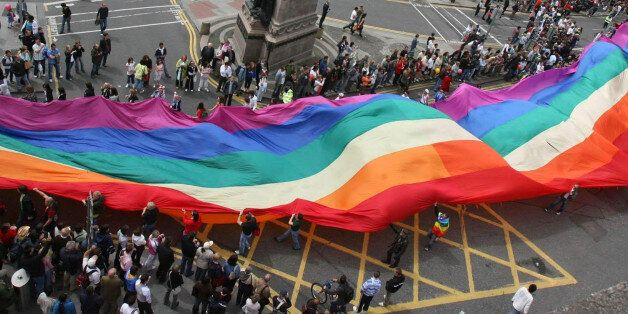 Members of Ireland's Gay and Lesbian communities take to the streets in their thousands for the annual...