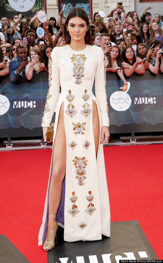 Kendall Jenner Ditches Underwear In Revealing Double Slit Dress At The MuchMusic Video Awards