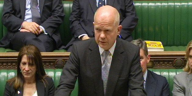 Foreign Secretary William Hague gives a statement in the House of Commons about the crisis in