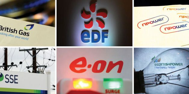 Undated file photos of the logos for the Big Six energy companies (top row from left) British Gas, EDF,...