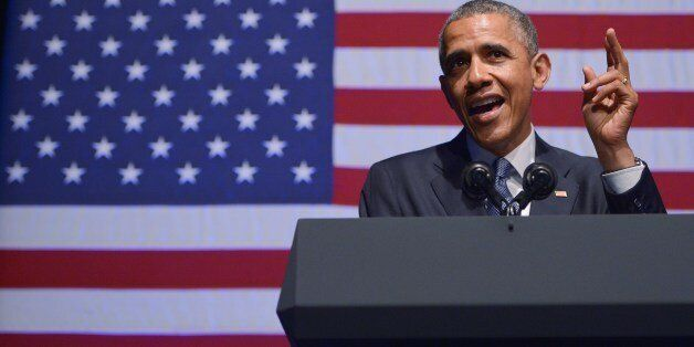US President Barack Obama speaks during the Democratic National Committee LGBT Gala at Gotham Hall on...