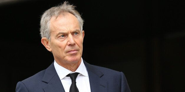 LONDON, ENGLAND - APRIL 17: Former Prime Minister Tony Blair leaves the Ceremonial funeral of former...