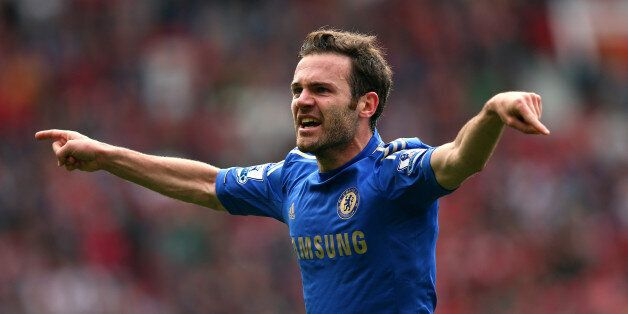MANCHESTER, ENGLAND - MAY 05: Juan Mata of Chelsea celebrates after scoring the winning goal during the...