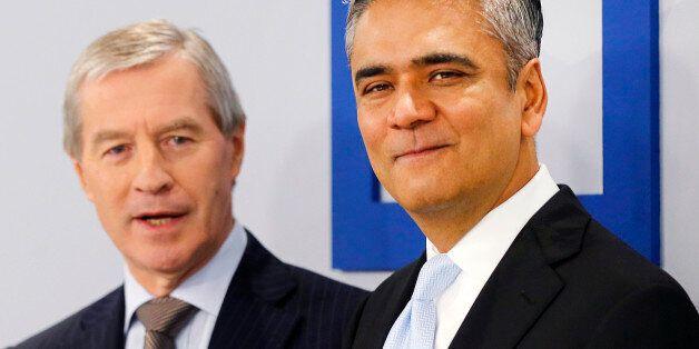 CEOs of Deutsche Bank Anshu Jain, right, and Juergen Fitschen stand together prior to the annual press...