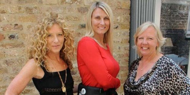 Running Mat's Donna Kerr-Foley poses with Deborah Meaden and Kelly