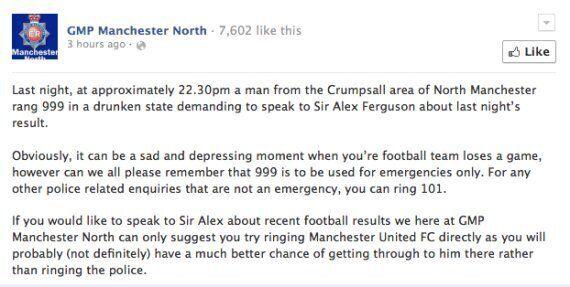 Drunk Manchester United Fan Dials 999 To Speak To Sir Alex Ferguson