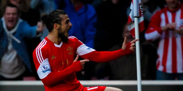 Southampton's Dani Osvaldo celebrates scoring against Manchester City during the Barclays Premier League...