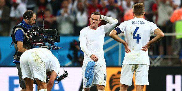 SAO PAULO, BRAZIL - JUNE 19: Wayne Rooney of England looks dejected after a 2-1 defeat in the 2014 FIFA...