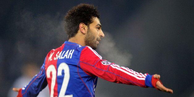 Basel's Egyptian midfielder Mohamed Salah celebrates scoring a goal during the UEFA Champions League...