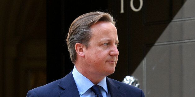 British Prime Minister, David Cameron awaits the arrival of the King of Bahrain, Sheikh Hamad bin Issa...