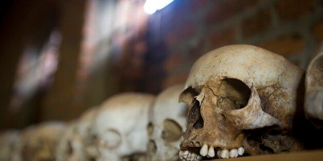 Skulls From Ntarama Genocide Lined Up On Shelf In