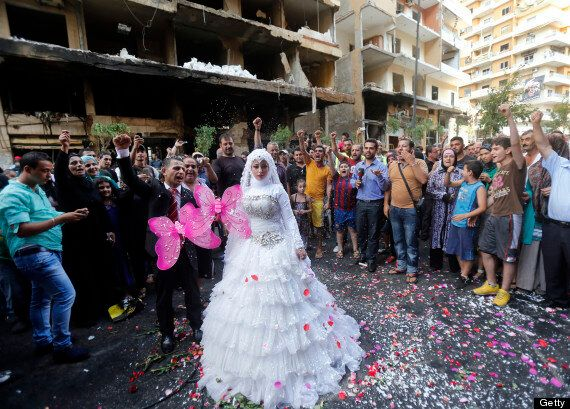 Lebanese Bride & Groom Pose at Site Of Car Bomb That Killed 27 In Beirut