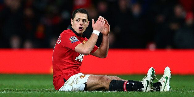 MANCHESTER, ENGLAND - JANUARY 22: A dejected Javier Hernandez of manchhester United reacts after a missed...