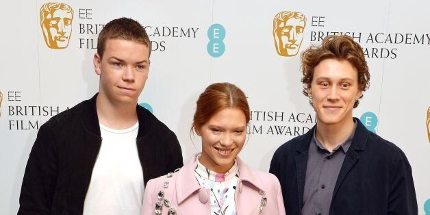 (Left to right) Will Poulter, Lea Seydoux and George MacKay at the BAFTA (British Academy of Film and...