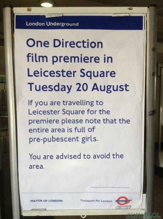 Spotted In A London Underground Station: Poster Warning About One Direction Premiere