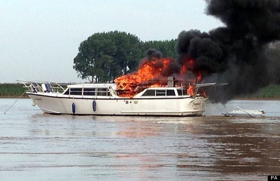 River Ouse Pleasure Cruiser Catches Fire, Two
