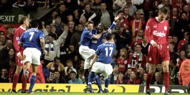 Kevin Campbell celebrates his winner in front of the Kop in
