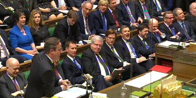 A view of the Government front bench as Prime Minister David Cameron speaks during Prime Minister's Questions...