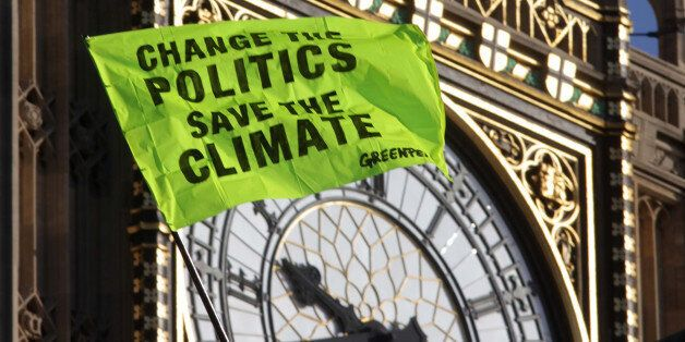 Greenpeace climate change protestors continue their protest on the roof of the House Of Parliament in...