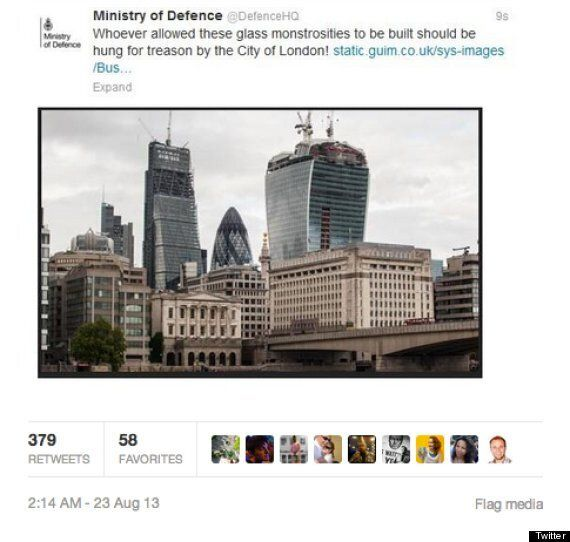 Ministry Of Defence Twitter Blunder Attacks London Skyline, Calls For Planners To Be