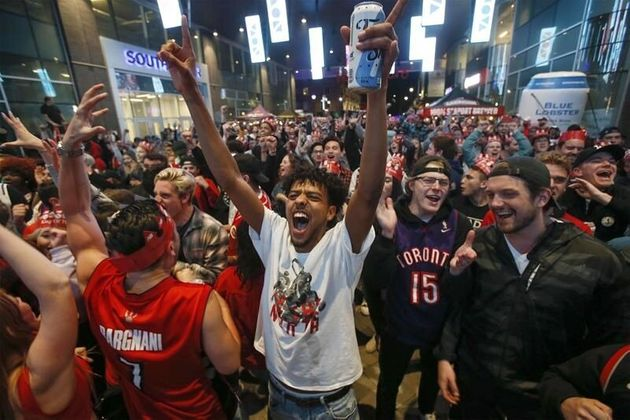 Toronto Raptors fans cheer on Canada's only NBA team at Rogers Square in Halifax on June 10, 2019. Game...