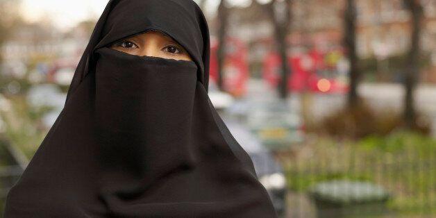 A British Muslim women in a niqab (file