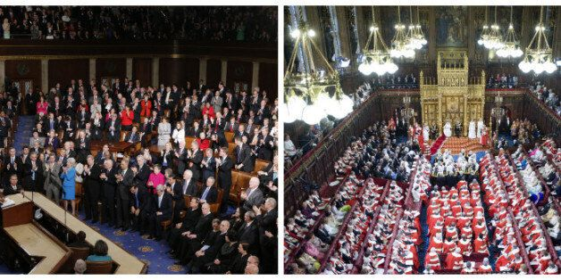 Barack Obama addressing Congress (left) and the Queen addressing Parliament