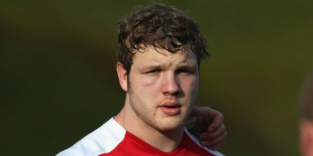 BAGSHOT, ENGLAND - JANUARY 28: Joe Launchbury looks on during the England training session at Pennyhill...