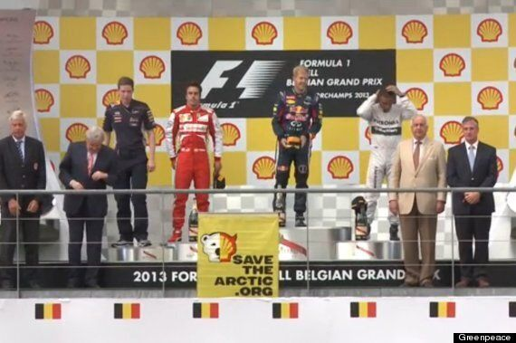 Greenpeace Pranks Belgian Grand Prix Podium With Remote Controlled Banners