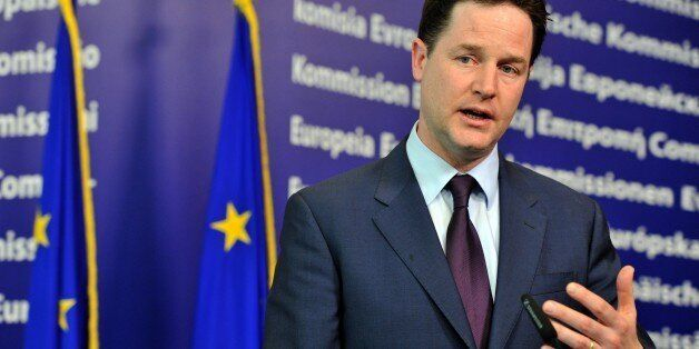 British Deputy Prime Minister Nick Clegg gives a joint press conference with High Representative of the...
