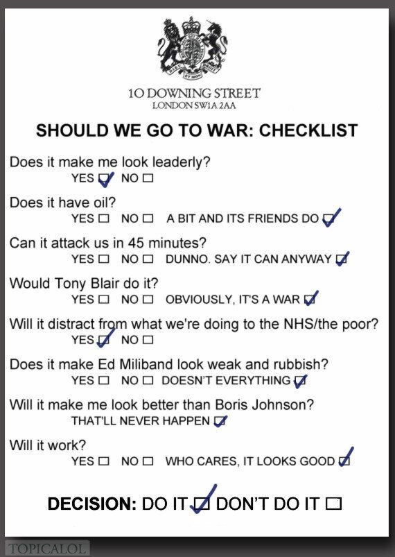 Syria: David Cameron's 'Go To War' Checklist Revealed
