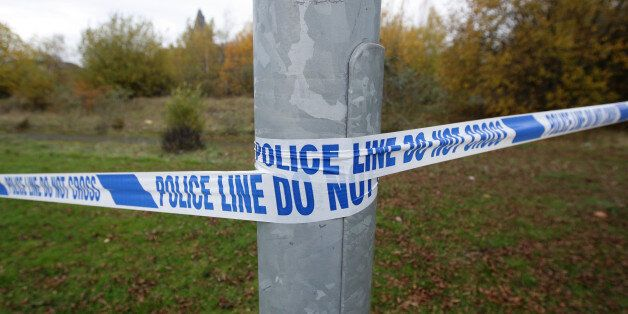A generic view of police tape at a crime scene in