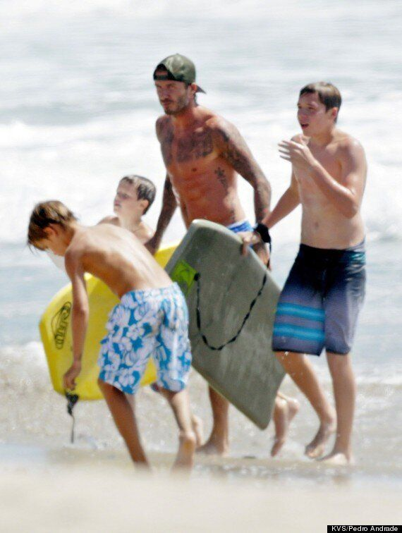 David Beckham Debuts New Chest Tattoo At The Beach With Brooklyn, Romeo And Cruz