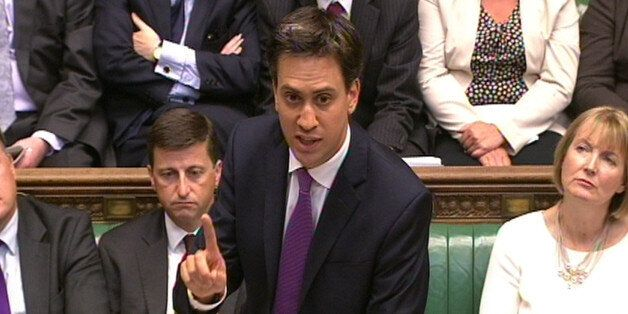 Labour party leader Ed Miliband speaks during a debate on Syria in the House of Commons, central