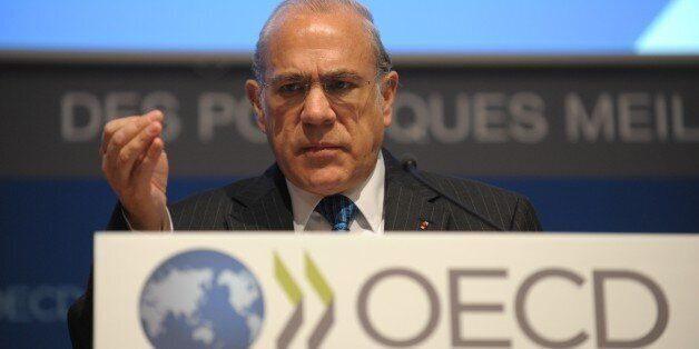 Organisation for Economic Co-operation and Development (OECD) Secretary General Angel Gurria delivers...