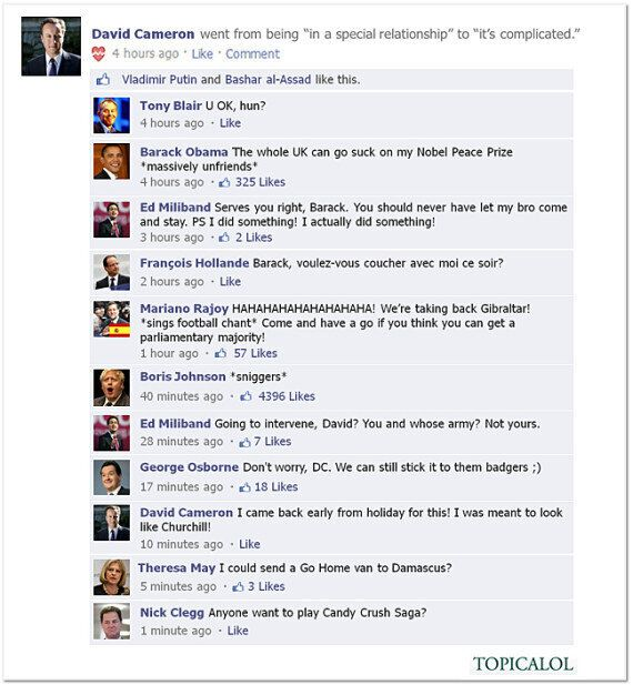 Syria: David Cameron Updates His Facebook Status After Commons Defeat