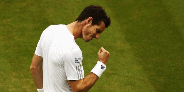 LONDON, ENGLAND - JUNE 30: Andy Murray of Great Britain celebrates during his Gentlemen's Singles fourth...
