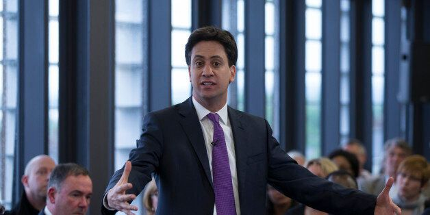 PURFLEET, ENGLAND - MAY 27: Ed Miliband, the leader of the Labour Party, addresses an audience at 'The...