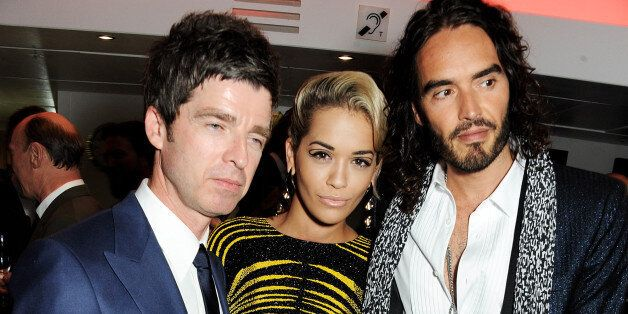 Noel Gallagher, Rita Ora and Russell Brand arrive at the GQ Men of the Year