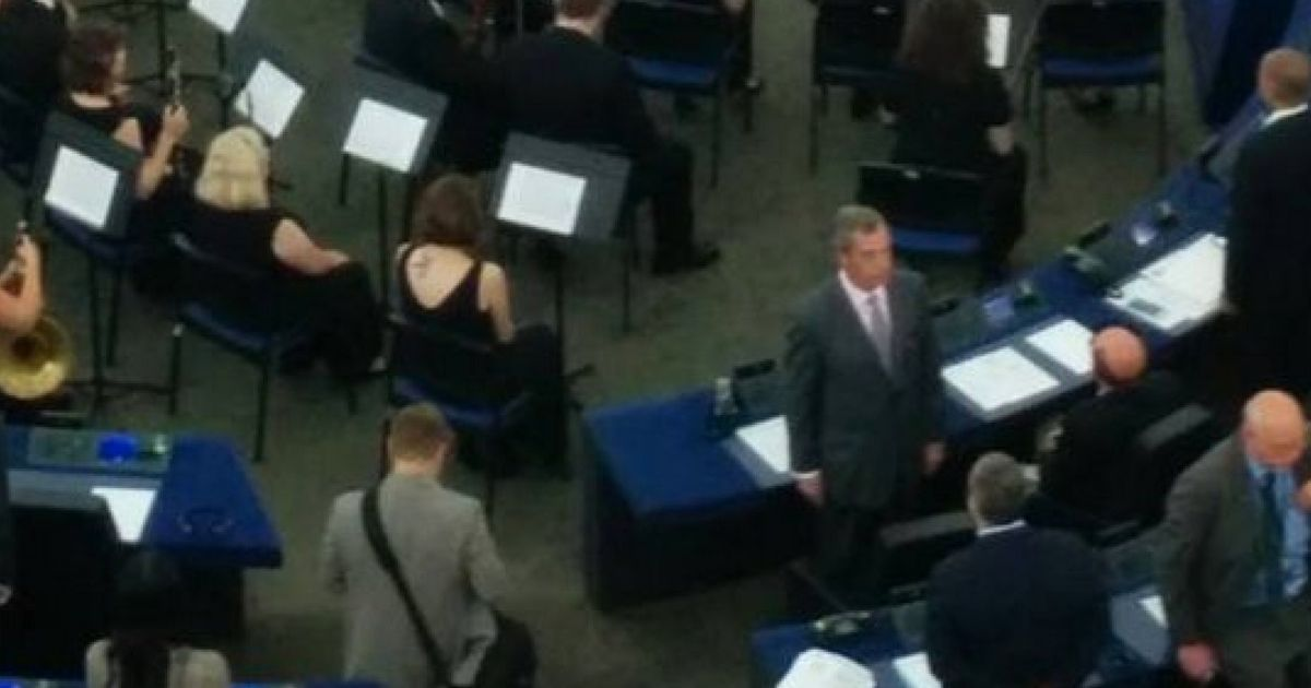Nigel Farage Turns His Back On EU Anthem In Opening Ceremony