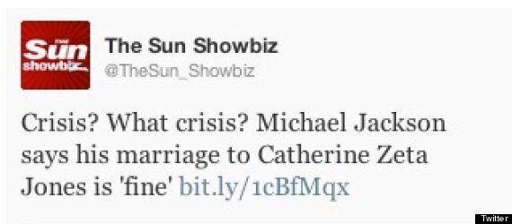 'Michael Jackson Says His Marriage To Catherine Zeta Jones Is Fine': The Sun Twitter Fail Day