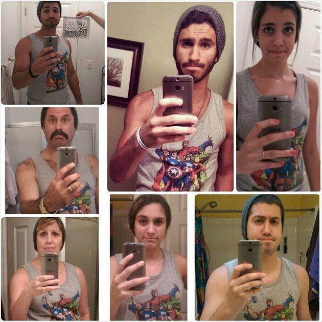 Family Hilariously Recreates Son's Selfie