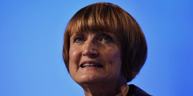 Shadow Secretary of State for London and the Olympics Tessa Jowell gestures as she speaks during a retrospective...