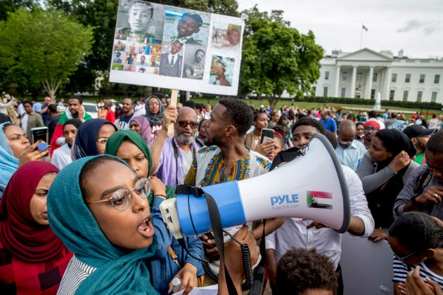 Sudanese Americans rally outside the White House in Washington, Saturday, June 8, 2019, in solidarity...