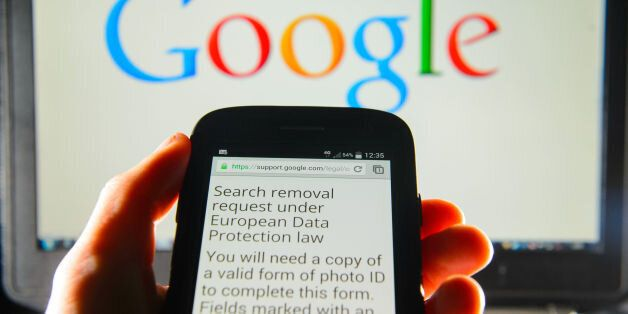 File photo dated 30/05/2014 of a Google search removal request displayed on the screen of a smart phone,...