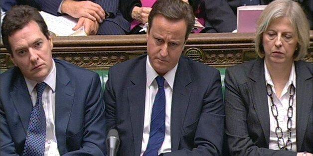 Conservative leader David Cameron (centre), Shadow Chancellor George Osborne (left) and Shadow Secretary...