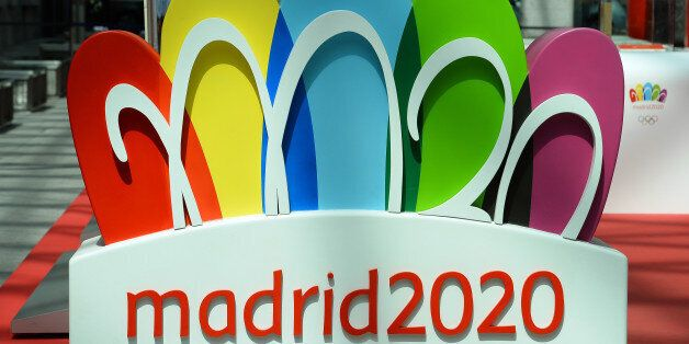 The logo for the city of Madrid's candidature for the 2020 Summer Olympic Games is pictured at the entrance...
