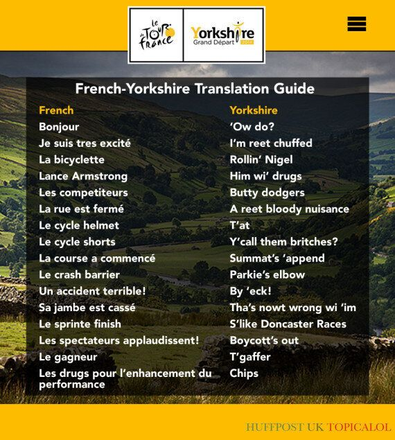 Le Tour Yorkshire: A French-Yorkshire Translation Guide