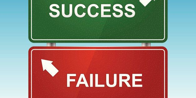Road sign with choice of success and failure. Layered file. System font